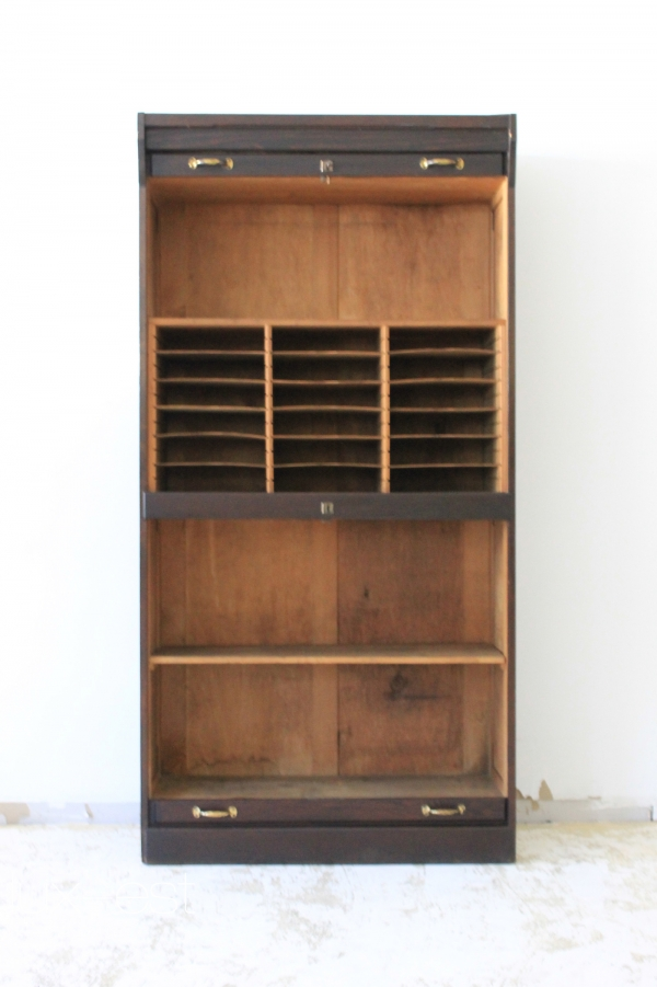 rollo akten b ro dokumenten rolladen schrank vintage document cabinet shelf ebay. Black Bedroom Furniture Sets. Home Design Ideas
