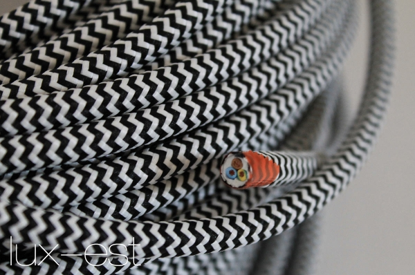 1m Stoffkabel SCHWARZ 2 x 0,75 Kabel stoffummantelt Lampe Vintage Design Textil