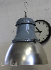 'WAVE XL' Industrielampe Fabriklampe Emaille Blau Vintage
