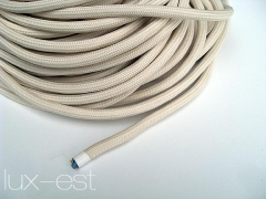 One meter creme three-wired cable for antique lamps and Bauhaus lamps in vintage industrial design.Various